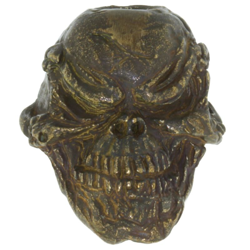 Grins Skull Bead in Solid Oil Rubbed Bronze Finish by Schmuckatelli Co.