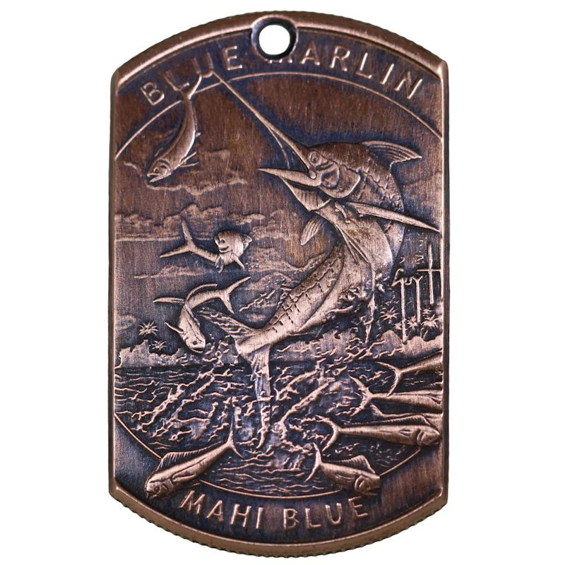 Guy Harvey - Blue Marlin / Mahi Copper Dog Tag Necklace