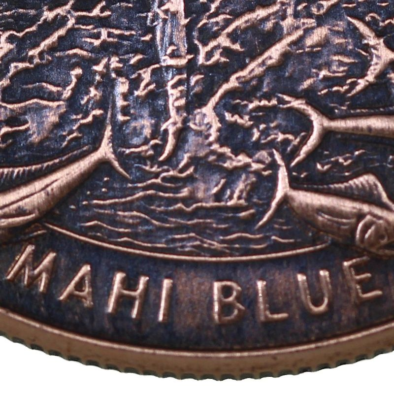 Guy Harvey - Blue Marlin / Mahi Copper Dog Tag Necklace - Click Image to Close