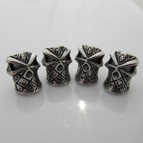 Hooded Ninja Bead in Silver Plated Finish (Set of 4)