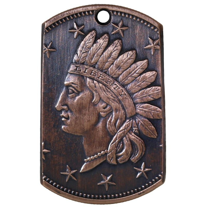 Indian Head Penny Copper Dog Tag Necklace