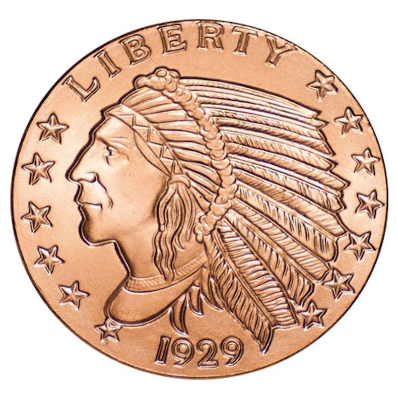 Incuse Indian 1 oz .999 Pure Copper Round (Golden State Mint)