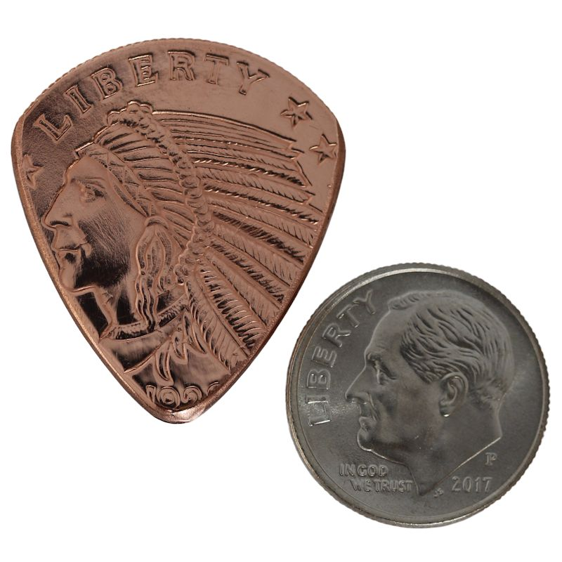 Incuse Indian Copper Guitar Pick - Click Image to Close
