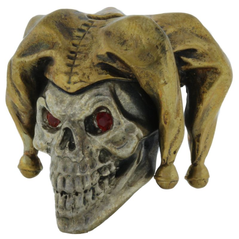 Jester with Red Rhinestone Eyes in .925 Sterling Silver and Bronze by GD Skulls