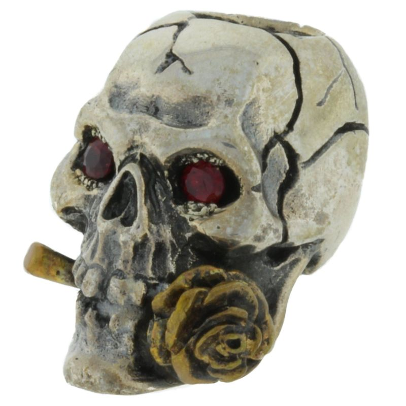 Rose Skull with Red Rhinestone Eyes in .925 Sterling Silver and Bronze by GD Skulls