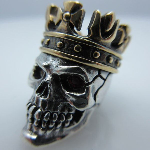 King with Red Rhinestone Eyes in .925 Sterling Silver and Bronze by GD Skulls