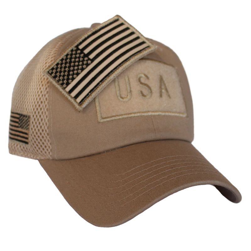 Khaki American Flag Velcro Patch Hat  - Click Image to Close