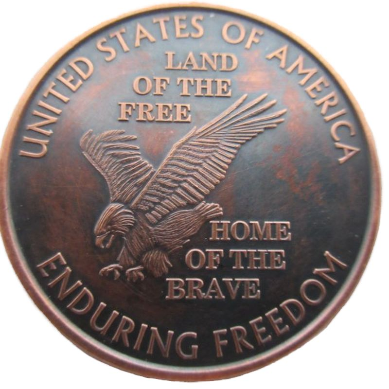 Land Of The Free (Enduring Freedom Series) 1 oz .999 Pure Copper Round (Presston Mint) (Black Patina)