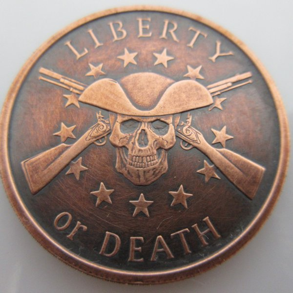 Liberty Or Death 1 oz .999 Pure Copper Coin (Black Patina)