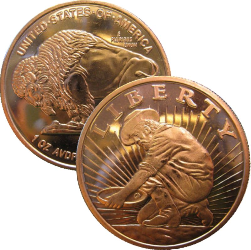 Liberty ~ Prospector 1 oz .999 Pure Copper Round