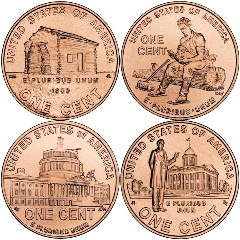 Complete Set Of (4) Lincoln 2009 Bicentennial Series 1 oz .999 Pure Copper Round