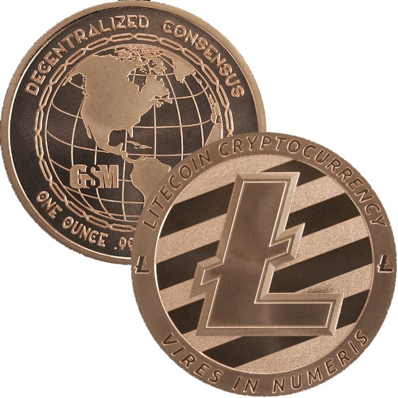 Litecoin - Cryptocurrency (Golden State Mint) 1 oz .999 Pure Copper Round