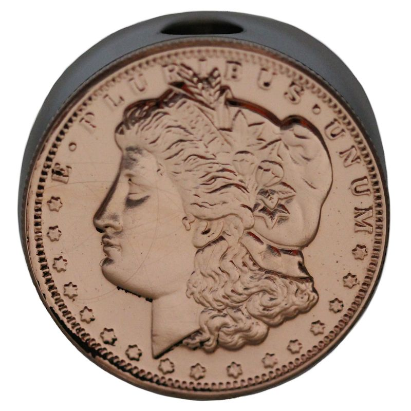Morgan Dollar Design (Polished Copper) Stainless Steel Core Lanyard Bead By Barter Wear