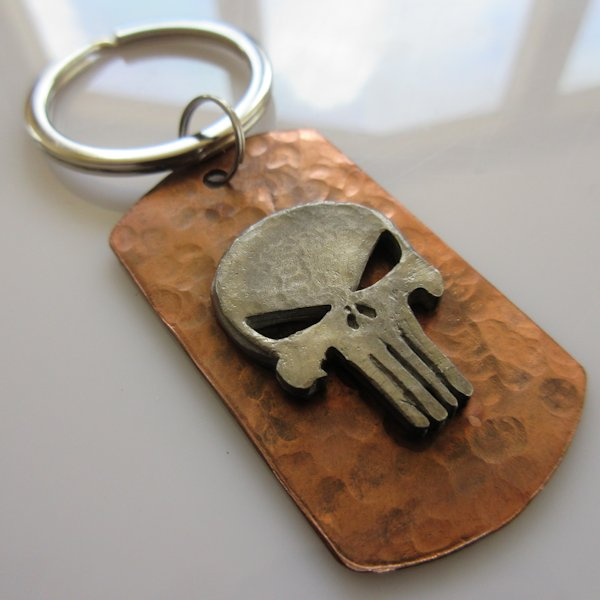 Punisher Dog Tag Key Ring in Copper/Pewter by Marco Magallona