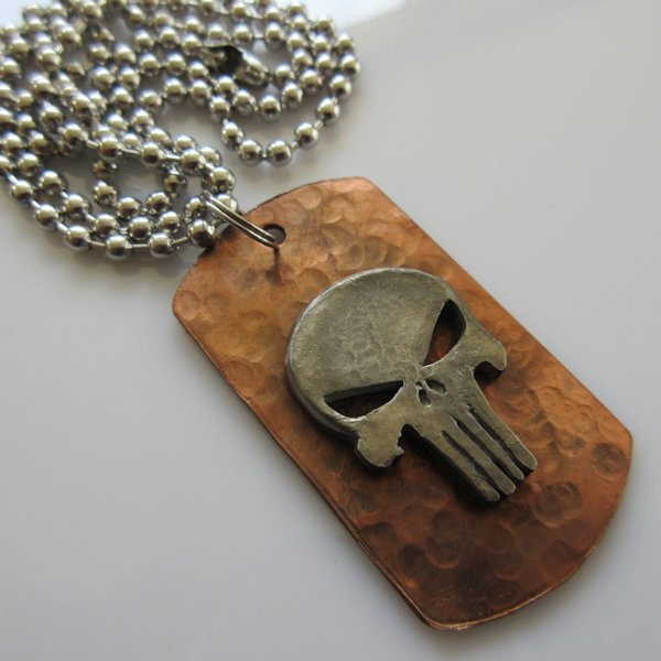 Punisher Dog Tag Necklace in Copper/Pewter by Marco Magallona