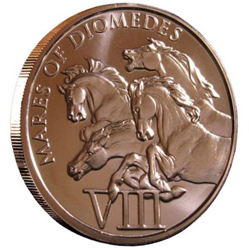 Mares Of Diomedes 1 oz .999 Pure Copper Round (8th Design of the 12 Labors of Hercules Series)