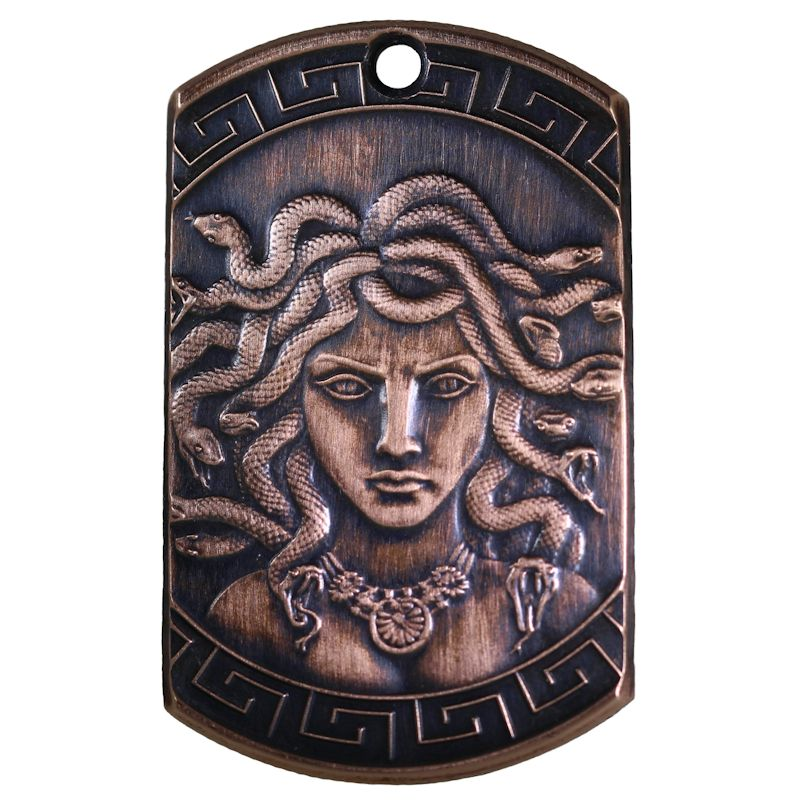 Medusa Copper Dog Tag Necklace