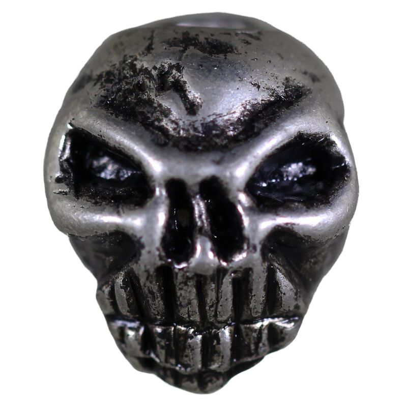 Grumpy Skull in Pewter (Set Of 2 Beads)