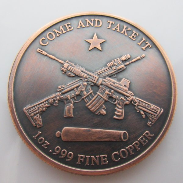 Molon Labe ~ Come And Take [Them] 1 oz .999 Pure Copper Round (Black Patina)