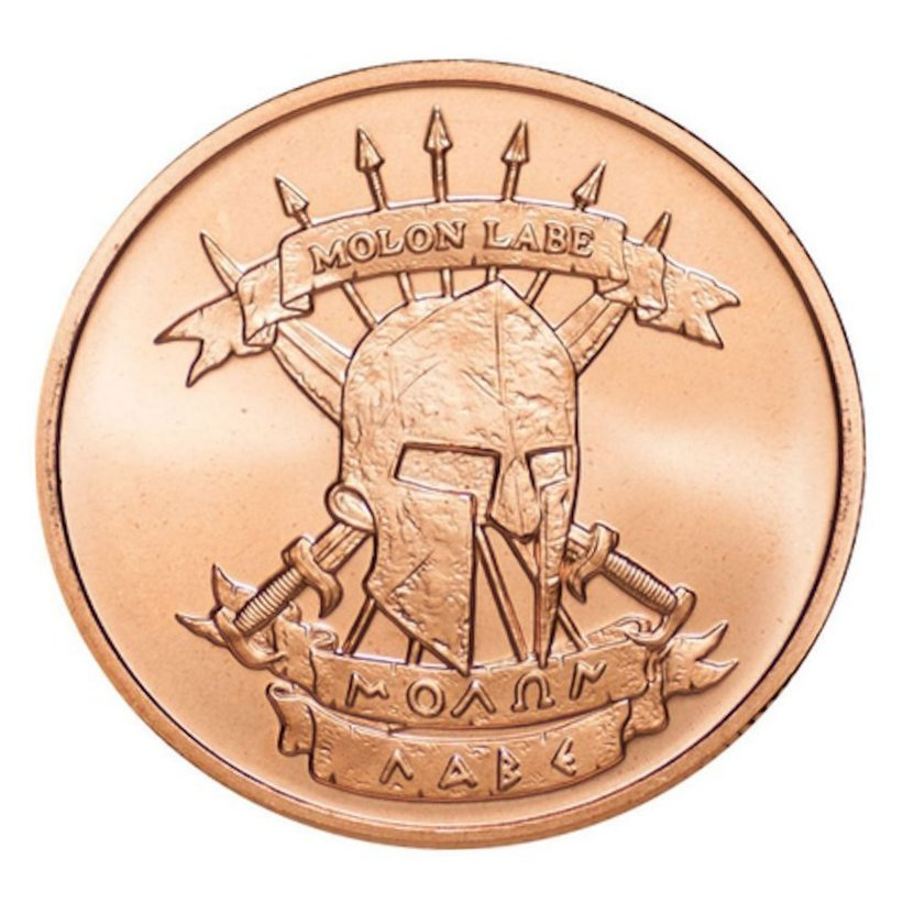 Molon Labe ~ Come And Take [Them] 1 oz .999 Pure Copper Round - Click Image to Close