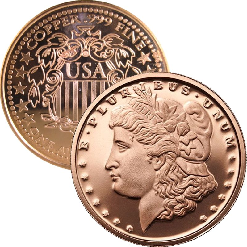 Morgan Dollar Design (Shield Back ~ 2011) 1 oz .999 Pure Copper Round