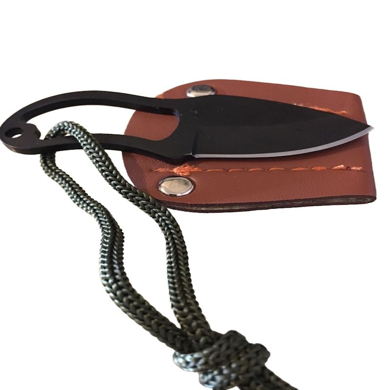 Neck Knife With Leather Sheath (Black Stainless Steel)