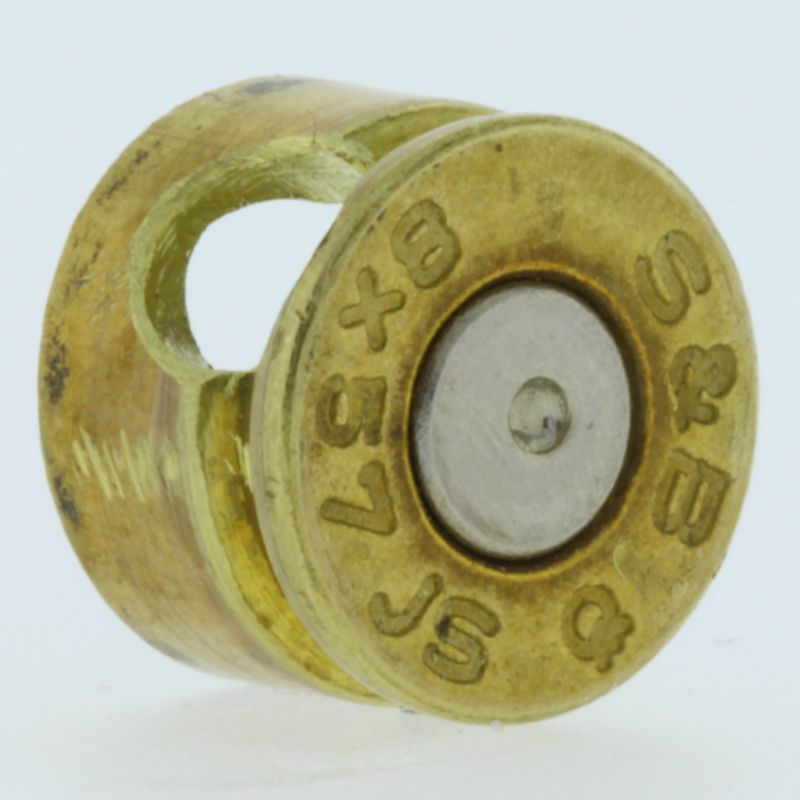 8MM Bullet Casing Bead In Brass With Nickel Primer By Bullet Bangles