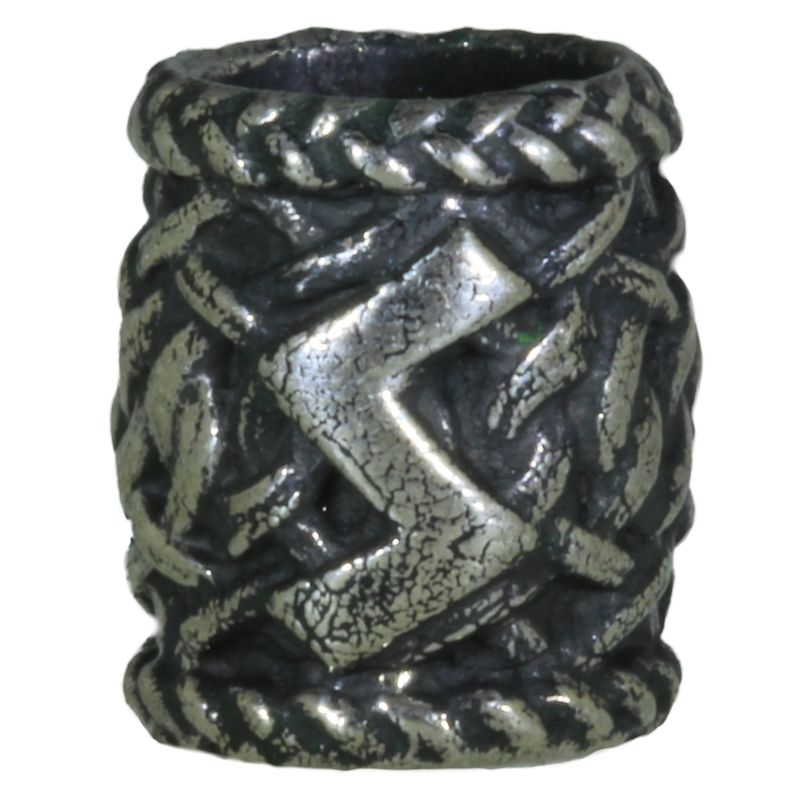 Norse Celtic Rune Bead in Nickel Silver by Russki Designs