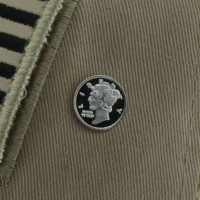 Mercury Dime Design .999 Pure Silver 1 Gram Pin By Barter Wear
