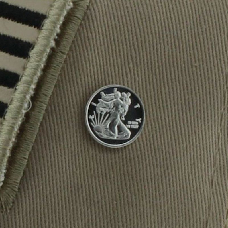 Walking Liberty Design .999 Pure Silver 1 Gram Pin By Barter Wear