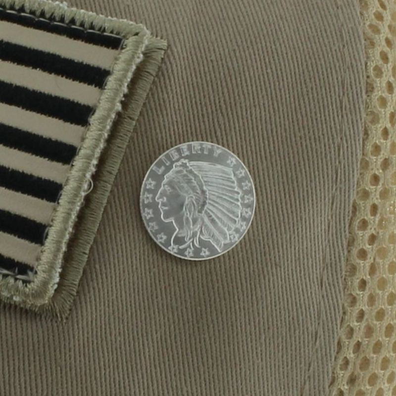 Incuse Indian .999 Pure Silver 1/10 Oz. Pin By Barter Wear