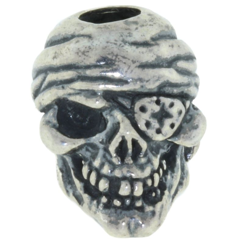 One-Eyed Jack Skull Bead in Solid .925 Sterling Silver by Schmuckatelli Co.