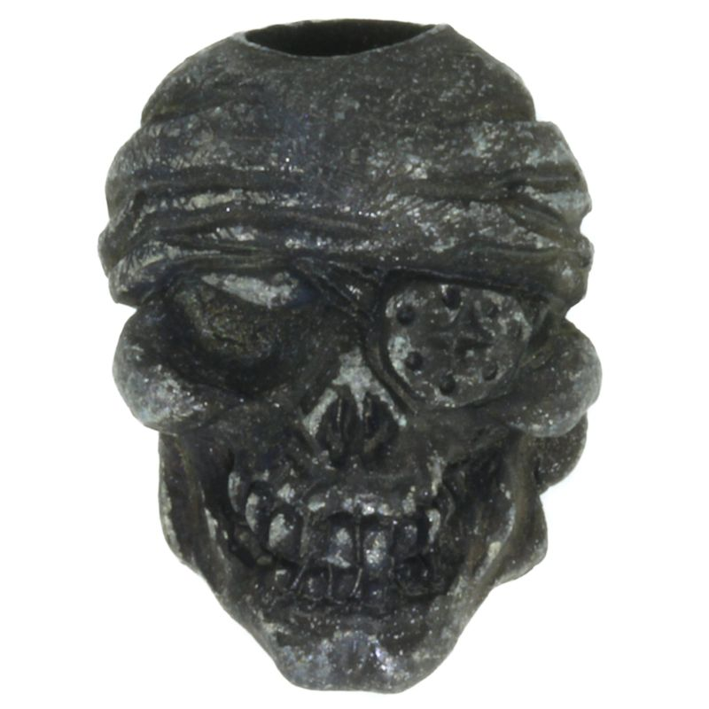 One-Eyed Jack Skull Bead in Black Oxide Finish by Schmuckatelli Co.
