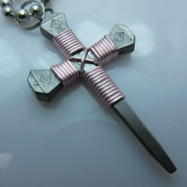 Nail Cross Ball Bead Necklace in Pink By Mr. Willie Hess