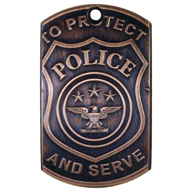 Police LEO Copper Dog Tag Necklace