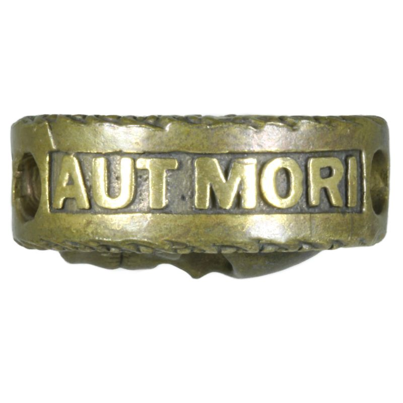 "PUGNARE AUT MORI - ""Fight Or Die"" In Brass With Antique Patina By Techno Silver"
