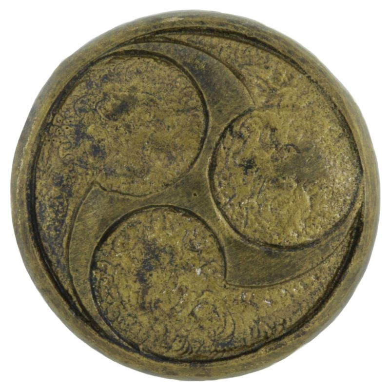 Raijin Shield Cord Button in Brass With Black Patina by Covenant Everyday Gear