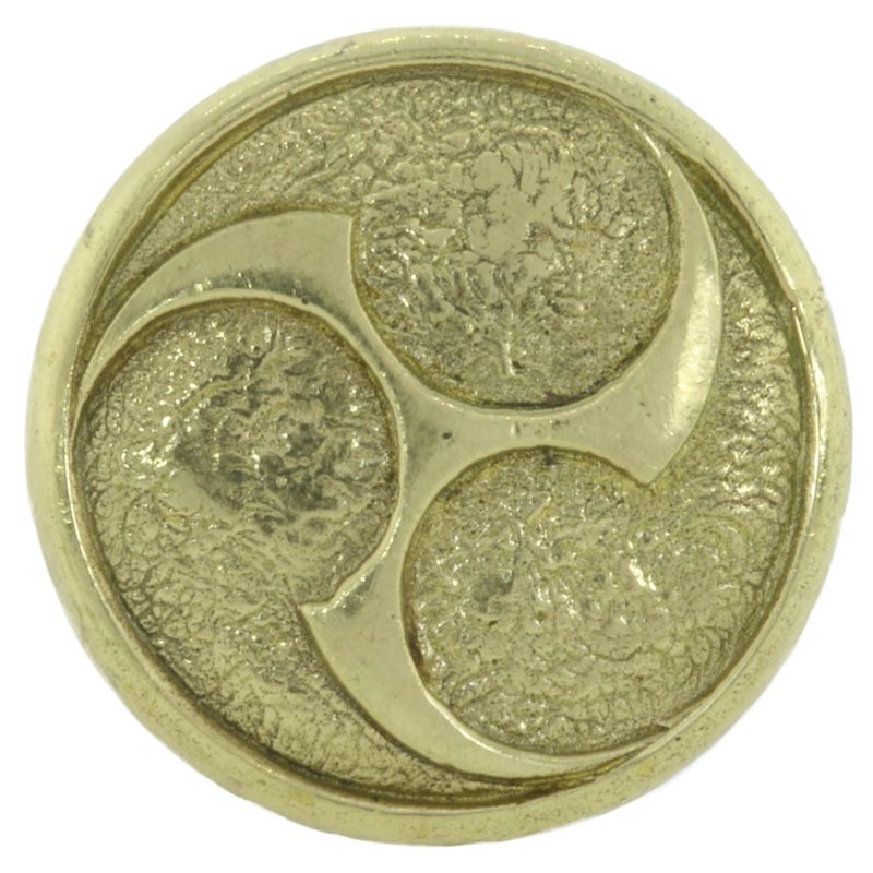 Raijin Shield Cord Button in Brass by Covenant Everyday Gear