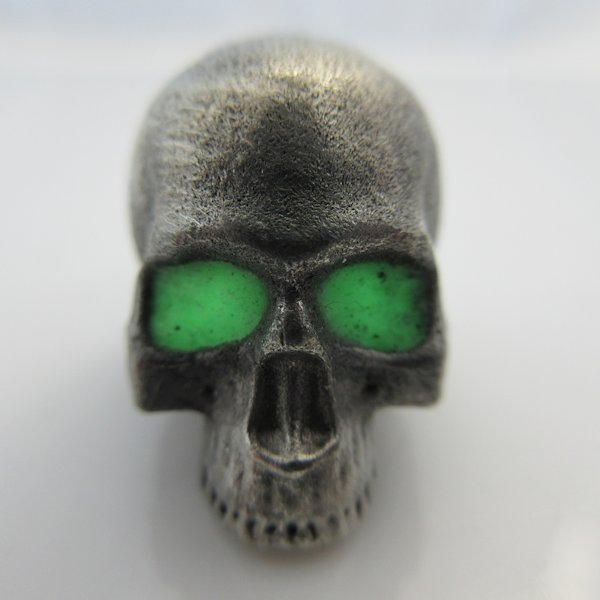 Realistic Skull Bead With Green Glow In The Dark Eyes in Pewter by Marco Magallona