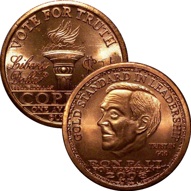 Ron Paul 2008 Vote For Truth NORFED 1 oz .999 Pure Copper Round