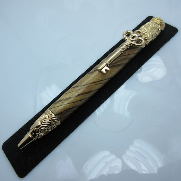 Skeleton Key Pen in (Zebra Wood) 24K Gold