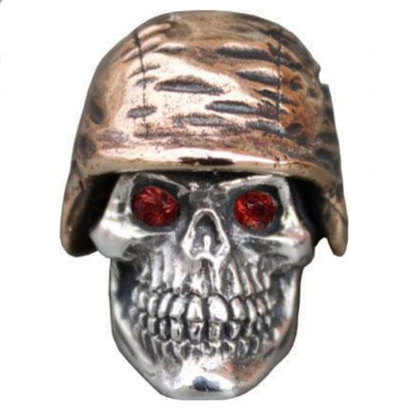 Soldier Helmet #1 with Red Rhinestone Eyes in .925 Sterling Silver and Bronze by GD Skulls