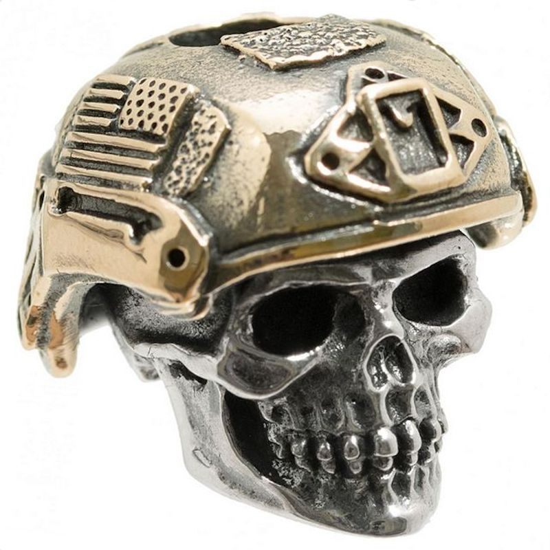 Soldier Skull in .925 Sterling Silver and Bronze by GD Skulls