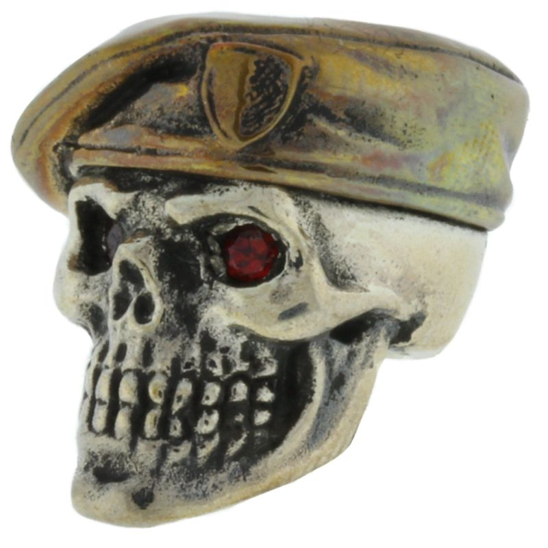 Green Beret with Red Rhinestone Eyes in .925 Sterling Silver and Bronze by GD Skulls