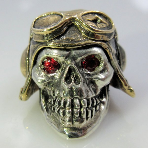 Pilot with Red Rhinestone Eyes in .925 Sterling Silver and Bronze by GD Skulls