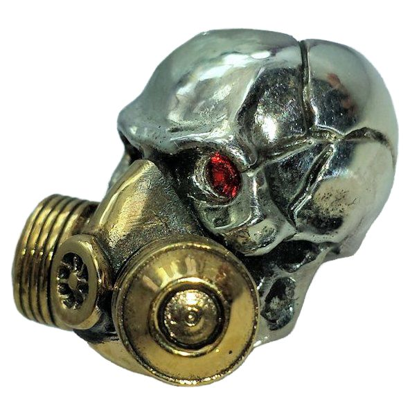 Gas Mask with Red Rhinestone Eyes in .925 Sterling Silver and Bronze by GD Skulls