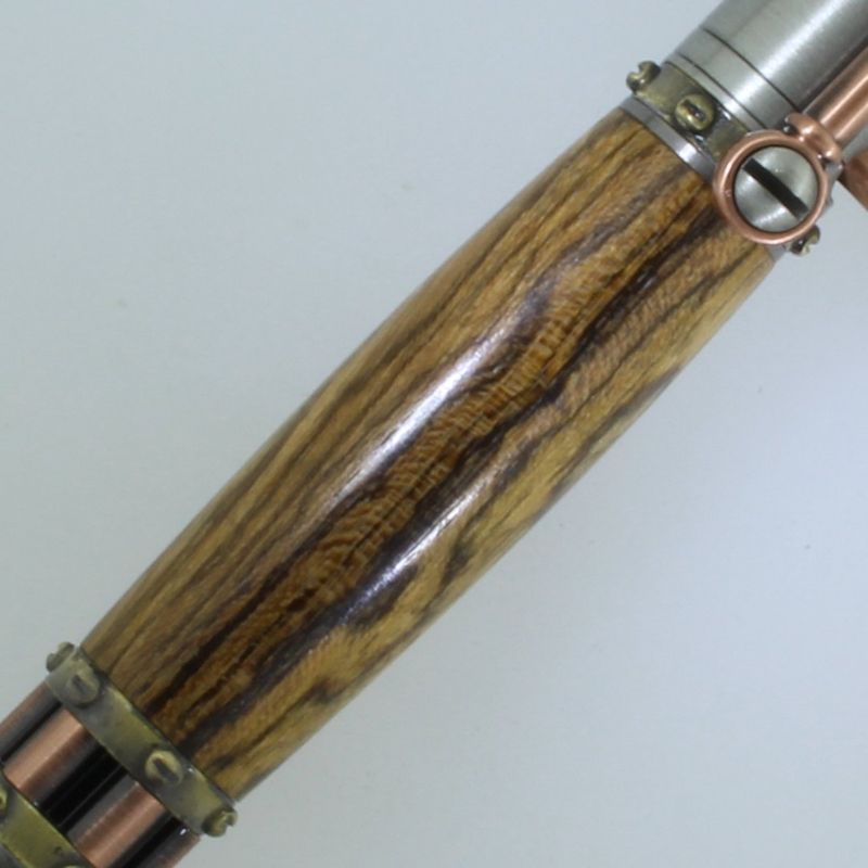 Steampunk Bolt Action Pen in (Tigerwood) Antique Pewter/Antique Copper