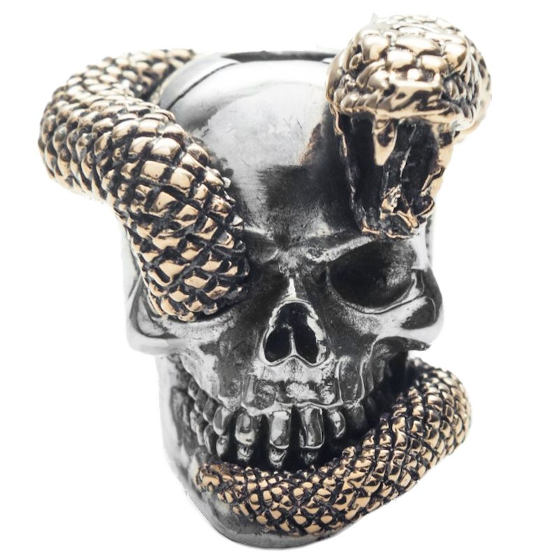 Snake Skull in .925 Sterling Silver and Bronze by GD Skulls