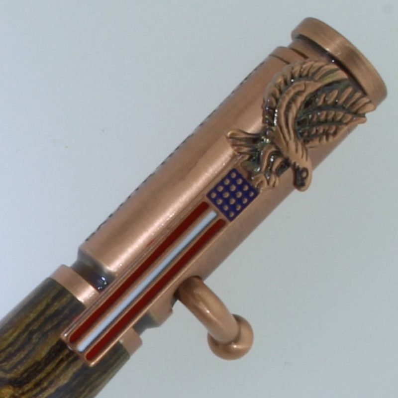 Salute The Troops Bolt Action Pen in (Bocote) Antique Copper/Rose Gold