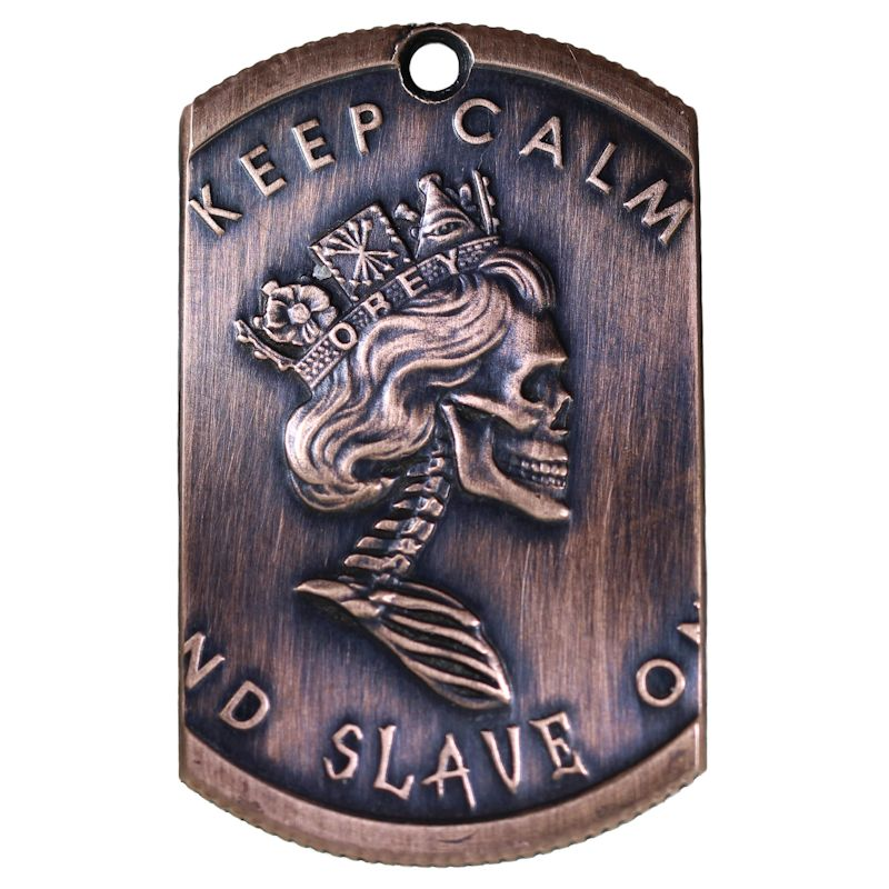 Keep Calm - Slave On Copper Dog Tag Necklace